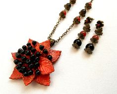 #Fallleaves  Fall #orange  #Beries  Fall jewelry  by #insoujewelry, $70.00