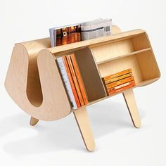 Late designer Egon Riss' wonderful birch plywood Isokon Penguin Donkey bookcase, a 1939 design.
