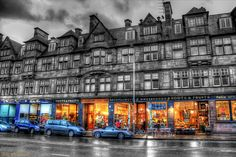 Glasgow Shops in the Caledonian Mansions, Glasgow, Scotland. We stayed in a flat in this building. Amazing!
