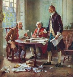 Thomas Jefferson (left), Benjamin Franklin, and John Adams draft the Declaration of Independence in 1776.