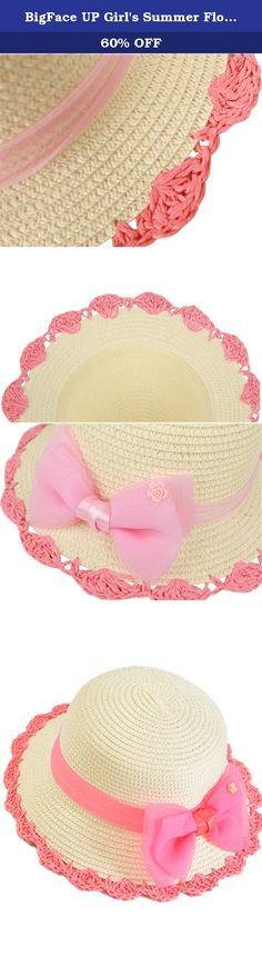 """BigFace UP Girl's Summer Floppy Straw Sun Protection Lace Bow Beach Hats (Beige with pink bowtie). This little girl's tea party hat is perfect for that special little someone looking to enjoy her childhood to the fullest. Secure those amazing memories by presenting her with such a beautiful gift! One size Material: Straw.good durability Popular element: bow Hat circumference: 20.5"""", brim width:2.1"""" Notes: This hat size information is just for reference only. Color of pictures may vary by..."""