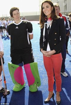 The Duchess of Cambridge plays hockey with the GB teams at the Riverside Arena in the Olympic Park today