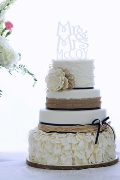 Rustic wedding cake. Burlap and navy.