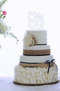Rustic wedding cake. Burlap and navy.