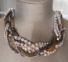 Chunky Vintage Rhinestone Necklace Bib Statement Metal Pearl
