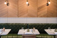 Hotel Indigo Kensington | restaurant design | banquettes with quilted leather | tongue and groove vertical paneling | chevron timber panels | calacatta oro marble