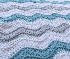 Aqua Blue and Gray Baby Boy Chevron Blanket by PrairieHeartstrings