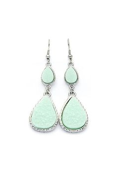 Druzy Droplet Earrings in Mint