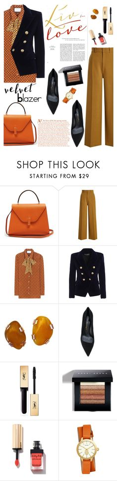"""Velvet Blazer"" by orrinn ❤ liked on Polyvore featuring Valextra, Joseph, Gucci, Balmain, Salvatore Ferragamo, Bobbi Brown Cosmetics and Tory Burch"