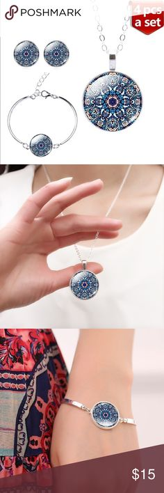 """Silver-Plated Mandala Flower Jewelry Set Beautiful matching pendant with chain, cuff bracelet, and earrings. The blues and purples are lovely., and the mandala flower design is very zen. The cuff is adjustable for any size wrist. Use the """"Add to Bundle"""" button to purchase more than one item in my closet at once; you'll receive a bundle discount and only pay one shipping fee! Jewelry Necklaces"""