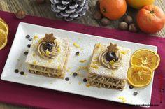 La millefoglie con crema di castagne è un dolce golosissimo che si prepara con gli ingredienti tipici della stagione fredda. Insieme alle castagne troviamo le arance e il cioccolato che con il loro profumo e il loro sapore avvolgente rendono irresistibile questa millefoglie con crema di castagne. La leggera croccantezza e la friabilità tipiche delle millefoglie Cake, Desserts, Food, Cream, Tailgate Desserts, Deserts, Kuchen, Essen, Postres