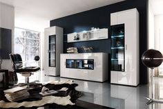 Corona Contemporary Room Set In White High Gloss Living Room Tv Unit, Living Room Furniture, Living Room Decor, Cabinet Furniture, Furniture Sets, Furniture Design, European Furniture, Italian Furniture, Dining Room