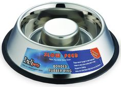 Indipets Stainless Steel Non-Tip Anti-Skid Health Care Slow Feeding Dish - Large- $27.99