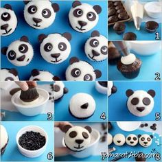 Do you like panda? When I go to San Diego Zoo, my first visit is always the Panda Cam. How lovely these panda cupcakes too! Panda Cupcakes, 12 Cupcakes, Animal Cupcakes, Birthday Cupcakes, Panda Birthday Party, Panda Party, Birthday Parties, Bear Party, Cute Diy Projects