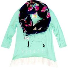 Gbym Girls' Pug Tee with Scarf, Size: 5, Green