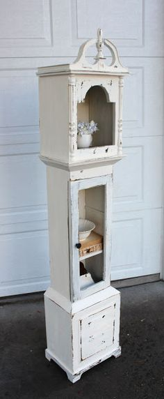 {Shabby Grandfather Clock Shelf} — Vintage Farm Furniture