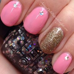 Pink for October! OPI I snow you love  me and all glittery and gold. With Essie pink works!
