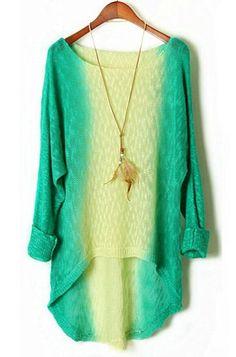 Gradient Long Sleeve Dipped Hem Sweater