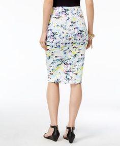 Thalia Sodi Printed Scuba Pencil Skirt, Only at Macy's - Bright White Combo XXL