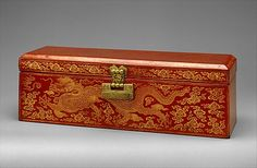 Period:     Ming dynasty (1368–1644), Yongle period (1403–24) Culture:     China Medium:     Red lacquer with incised decoration and gilding; damascened-brass lock and key Sutra with Dragon