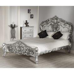 La Rochelle Silver Rococo Antique French Bed