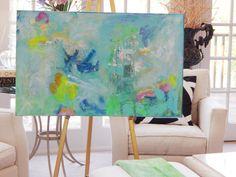 Large 48 X 30 Original Abstract Paintings by Pamela by PamQArts