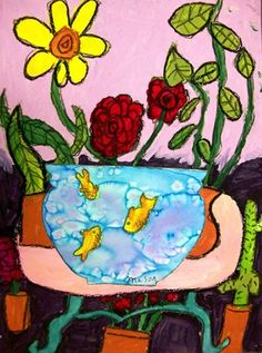 Gr 3 Matisse inspired goldfish draw/paint/collage