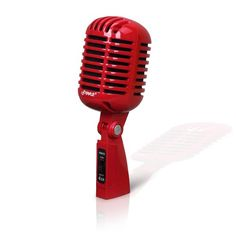 Pyle - PDMICR42R , Musical Instruments , Microphones - Headsets , Sound and Recording , Microphones - Headsets , Classic Retro Dynamic Vocal Microphone, Vintage Style Vocal Mic with 16' ft. XLR Cable (Red)
