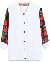 White Contrast Floral Long Sleeve Tiger Embroidered Jacket $36.07