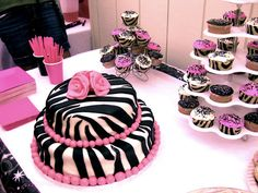 zebra - pink, cake and cupcakes...bridal, baby shower, birthday party for Nakita lol