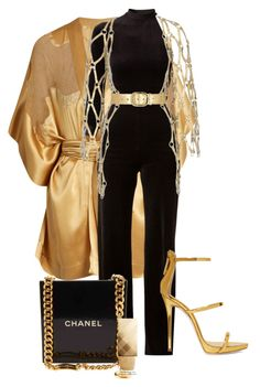 """11:07pm//gold overload"" by guccifresh ❤ liked on Polyvore featuring Carine Gilson, Vetements, Zana Bayne, Giuseppe Zanotti, Chanel and Burberry"