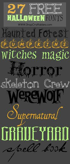 Free font sets for Halloween projects with the Cricut or Silhouette. Halloween Crafts To Sell, Halloween Vinyl, Halloween Fonts, Diy Crafts To Sell, Fun Crafts, Halloween Projects, Halloween Ideas, Craft Projects, Halloween Hair