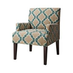 Dolce Upholstered Accent Arm Chair - Luca Teal Geometric Quick Information
