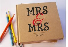 Custom Same Sex Wedding Guest Book. Kraft Paper. door TransientBooks