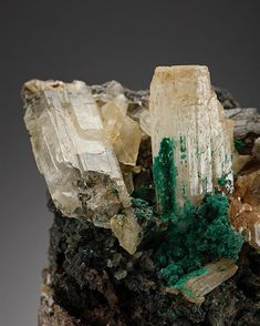 Cerussite with Malachite   #Geology #GeologyPage #Mineral  Locality: Pfingstwiese Mine Bad Ems Bad Ems District Lahn Valley Rhineland-Palatinate Germany Europe  Dimensions: 5.3  4.0  3.6 cm  Photo Copyright  Crystal Classics  Geology Page www.geologypage.com Gems And Minerals, Crystals Minerals, Rhineland Palatinate, Germany Europe, Quartz Cluster, Malachite, Geology, Science, History