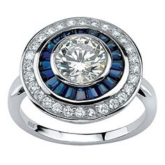 White Cubic Zirconia and Sapphire Platinum over 925 Silver Art DecoInspired Circle Ring -- Check out this great product.Note:It is affiliate link to Amazon.