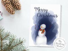 Snowman Christmas Card  Digital Download to print at home. #digitalcard #printablecard #christmascard #snowmencard