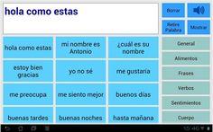 Asistente de voz: aplicación diseñada para las personas con problemas del habla y comunicación. Está desarrollada para su uso por personas que pueden leer y comprender el significado de palabras y frases completas, pero con dificultades para componer texto escrito utilizando el teclado virtual del dispositivo.