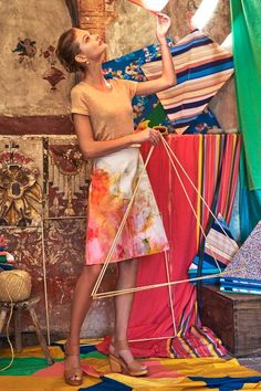 Vibrantly colored, The Painter's Palette Skirt by Claire Desjardins is inspired by graffiti, street art and Abstract Expressionism.