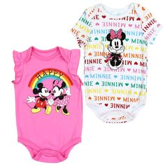 Disney Minnie Mouse And Mickey Mouse Under A Rainbow Baby Girls Onesie Set - Houston Kids Fashion Clothing Disney Baby Clothes Girl, Baby Pink Clothes, Baby Girl Shirts, Baby Disney, Disney Baby Onesies, Baby Girls, Kids Outfits Girls, Toddler Girl Outfits, Toddler Girls
