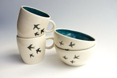 Hand painted swallow mugs and bowls by Rosslab