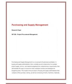 INF336 / INF 336 / Week 5 Assignment Research Purchasing and Supply Management