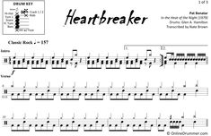"Learn to play ""Heartbreaker"" by Pat Benatar with our note-for-note drum sheet music. Drum Sheet Music, Drums Sheet, Tom Bass, Drum Key, Pat Benatar, Drumline, Snare Drum, Ready To Play, Drummers"