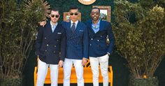 Sam White @samwhiteout, Leo Chan @levitatestyle, and Ryan Styles @ryanstylesnyc at the VC Polo Classic dressed in double breasted Ralph Lauren Polo