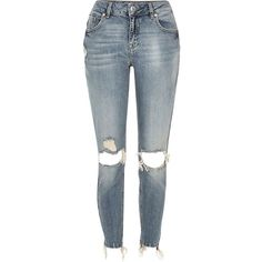 River Island Mid blue wash Alannah relaxed skinny jeans ($55) ❤ liked on Polyvore featuring jeans, pants, bottoms, blue, calça, women, skinny jeans, blue ripped jeans, distressed jeans and skinny fit jeans