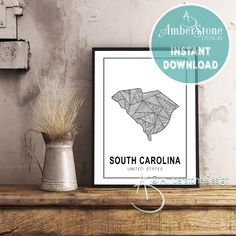 SOUTH CAROLINA ART Print, Instant Download, South Carolina Print, South Carolina State Art, Printables, Black White Print, South Carolina by AmberstoneDesign on Etsy Black And White Printer, Black White, South Carolina Art, Stock Photo Websites, Zebra Decor, Nursery Letters, Photo Store, Amber Stone, Typography Art