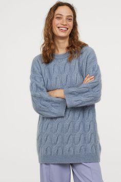 33db47a8e836 Cable-knit mohair-blend jumper - Light blue - Ladies   H M