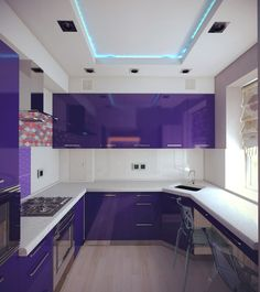 Kitchen Modular, Modern Kitchen Cabinets, New Kitchen, Baby Girl Room Decor, Purple Kitchen, Bedroom Night, Kitchen Paint Colors, Purple Home, Home And Living