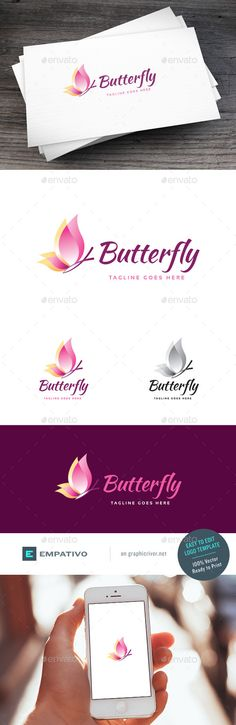 Butterfly Logo Template by empativo Modern, versatile and stylish logo template. Ideal for a wide range of uses. Features 100 vector. Easy to edit color / text
