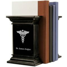 Personalized Marble Medical Bookends with Caduceus grad gift for DrH